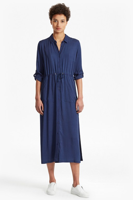 Altman V Solid Maxi Shirt Dress