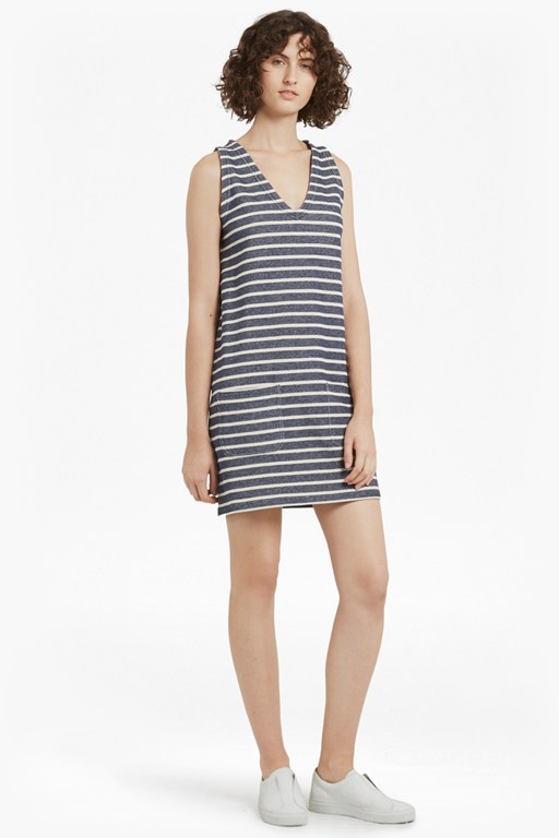 NORMANDY STRIPE VNECK SLEEVELESS DRESS