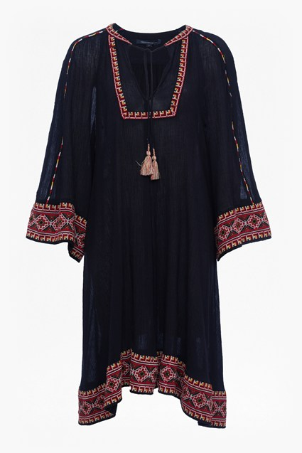 Adanna Crinkle Embroidered Smock Dress