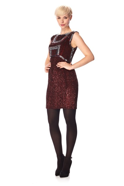 GEO BEADING SLASH NECK DRESS