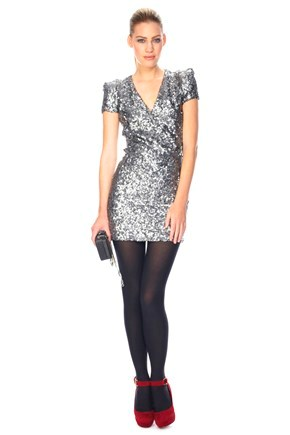 SILVER SAMANTHA SEQUINS DRESS