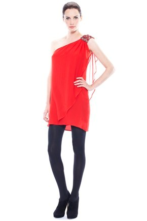 Drape Delight Asymetric Dress