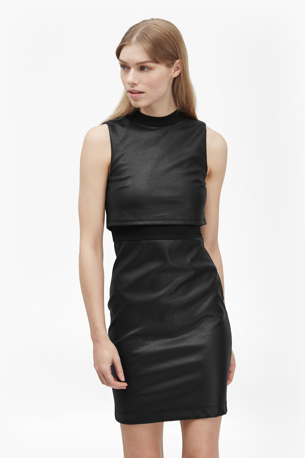 Black dress jersey - Cracked Earth Layered Jersey Dress Loading Images