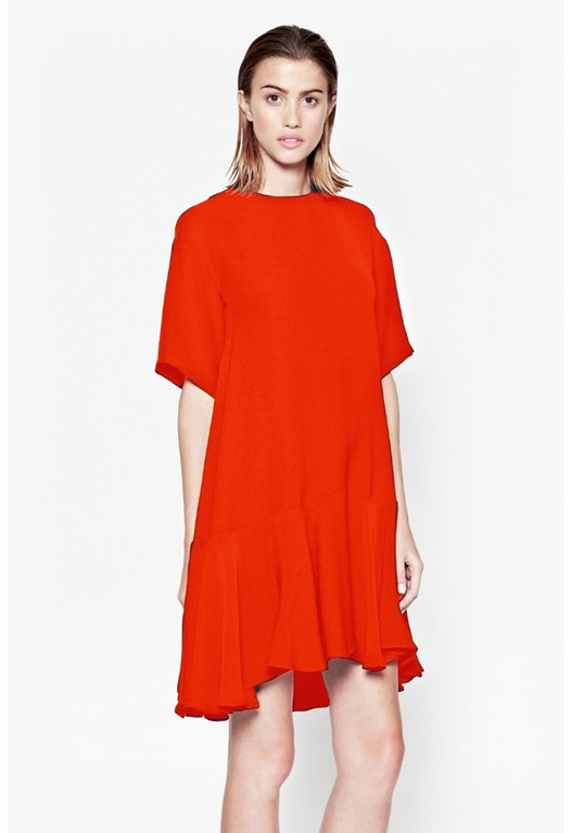 Arrow Crepe Fluted Sleeves Dress