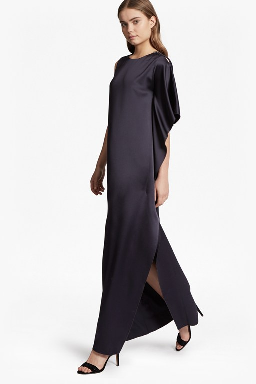 Sasha Satin Fluted Maxi Dress