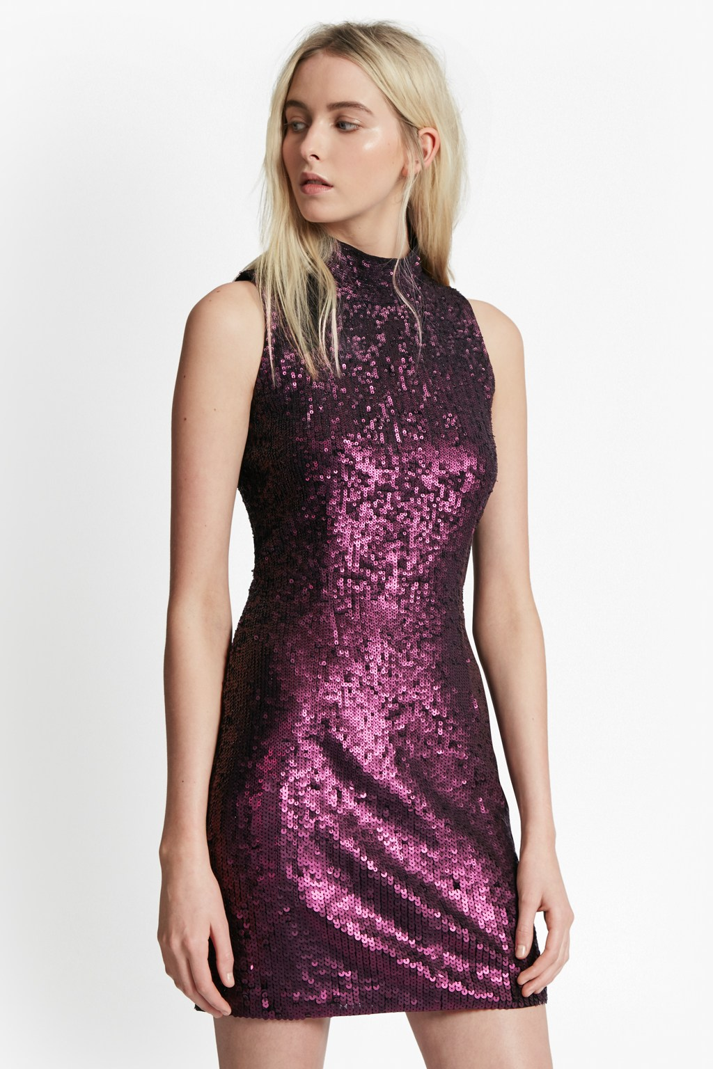 726a0cb0301 Starlight Sparkle High Neck Sequin Dress Faux Fur French