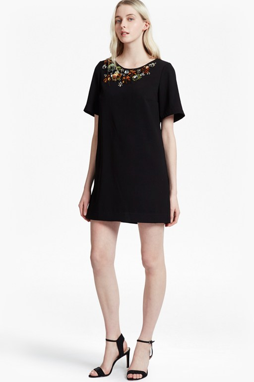 ernest 3d floral embellished tunic dress