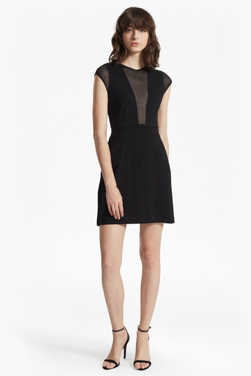 Complete the Look Marie Chiffon Mesh Panelled Mini Dress