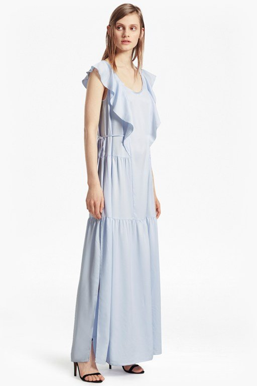 nia drape cap sleeved maxi dress
