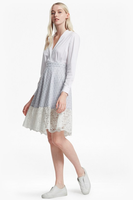 oni lace mix flared cotton dress