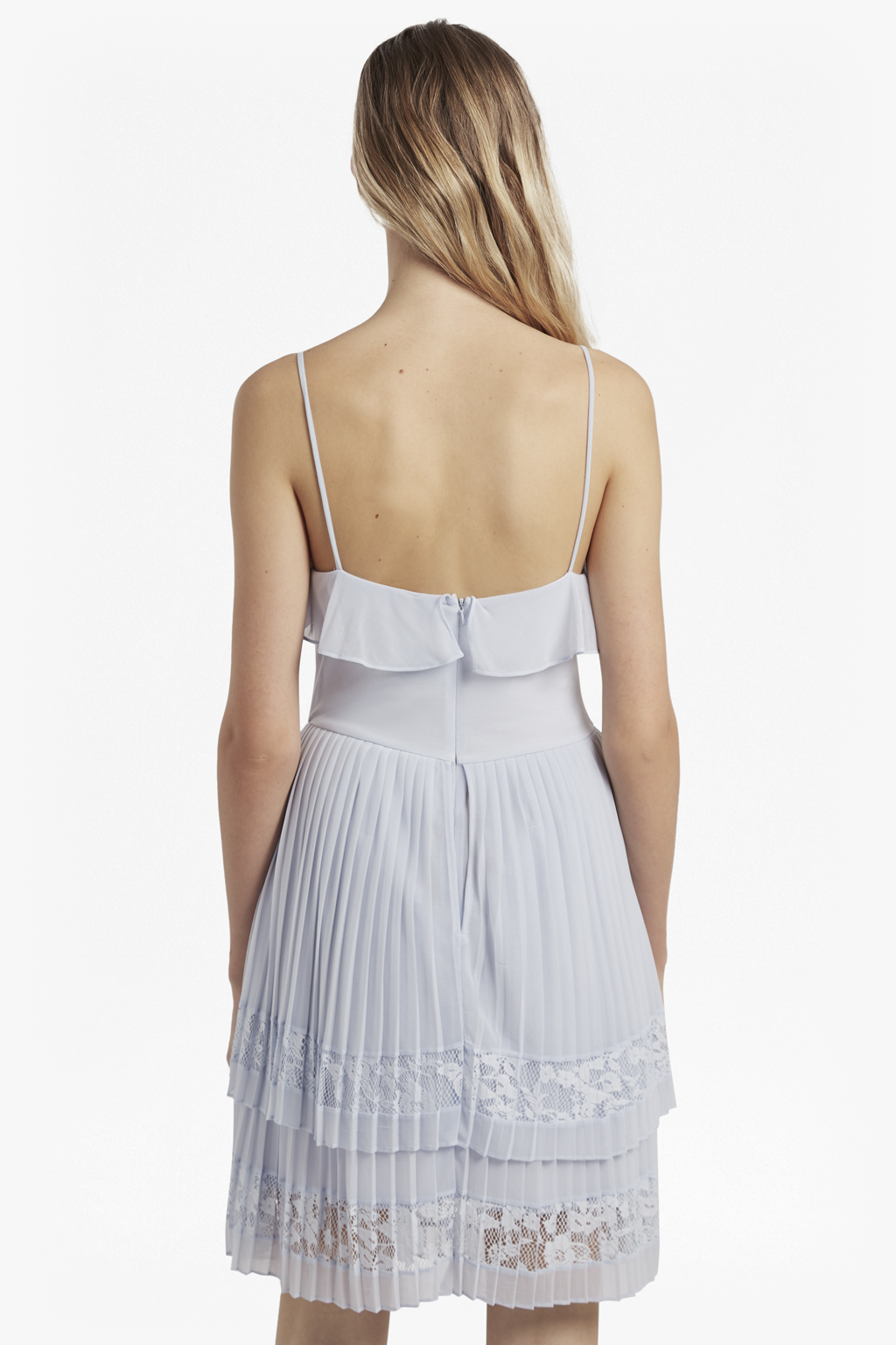 French Connection Pleat Lace Jersey S//LS V-Neck Womens Dress