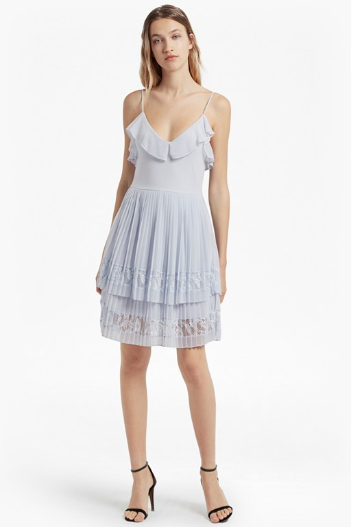 Adanna Pleat Lace Jersey Dress
