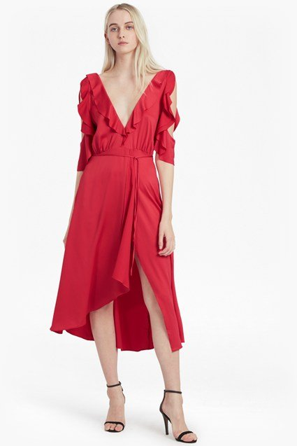 Maudie Drape Cold Shoulder Dress