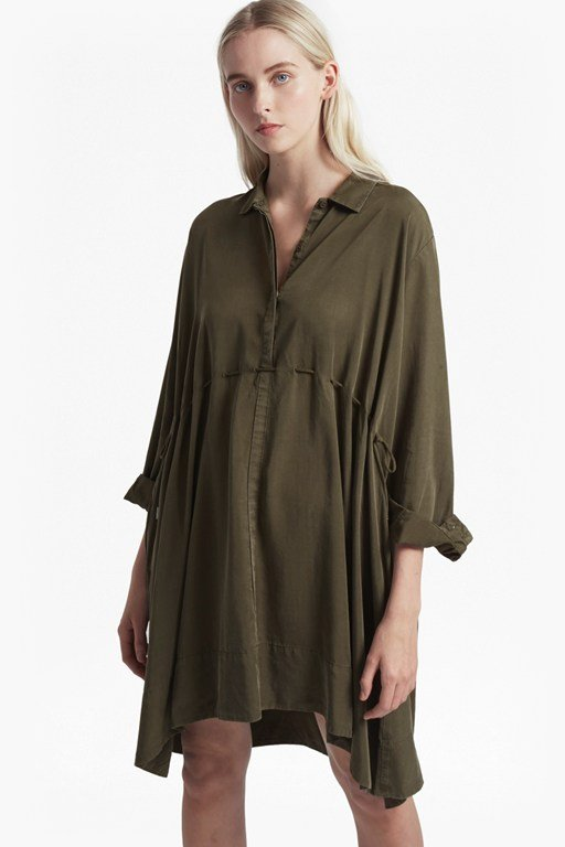 sunny tencel drawstring shirt dress