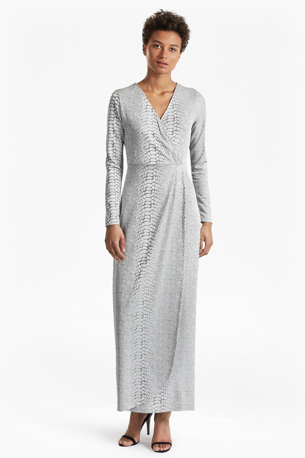 Snake Jacquard Maxi Wrap Dress | Formal Shoes | French Connection Usa