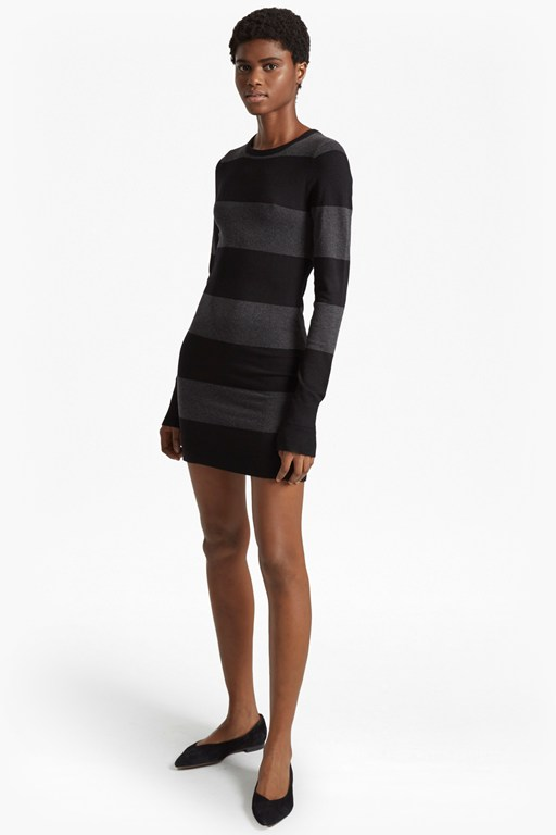 rugby stripe knit long sleeved jumper dress