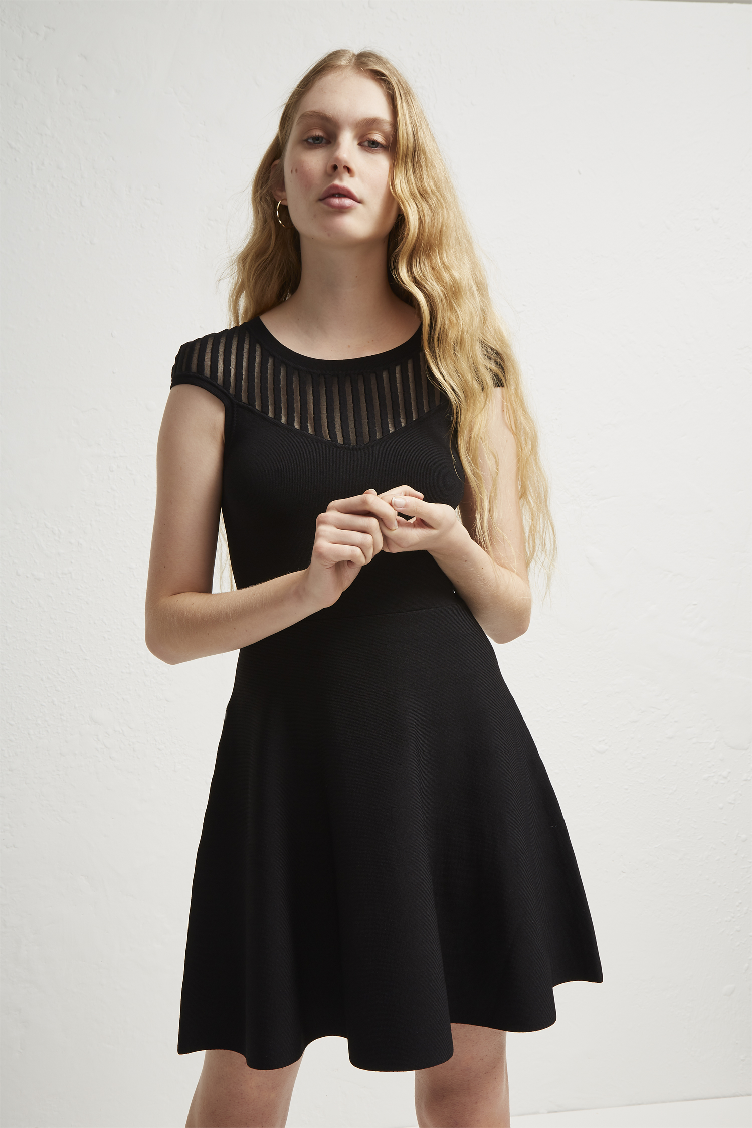 Knitted Fit and Flare Dress - White French Connection YfkQ2