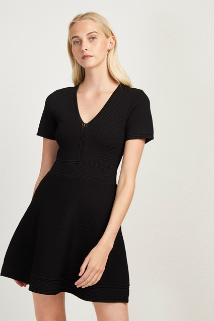 Ellie Knits V Neck Fitted Dress