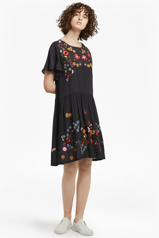 Complete the Look Alice Drape Embroidered Dress
