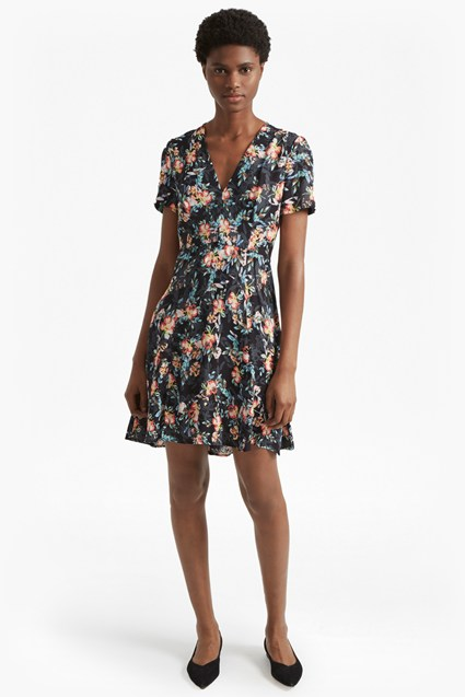 Delphine Crepe Mix V Neck Dress
