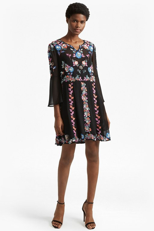 Complete the Look Edith Floral Bell Sleeve Flared Dress