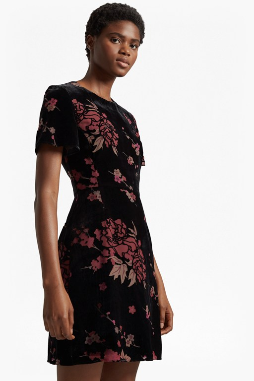 Black rose dress french connection short sleeve