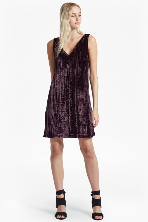 theresa velvet v neck dress