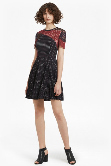 Phoebe Crepe Lace Skater Dress