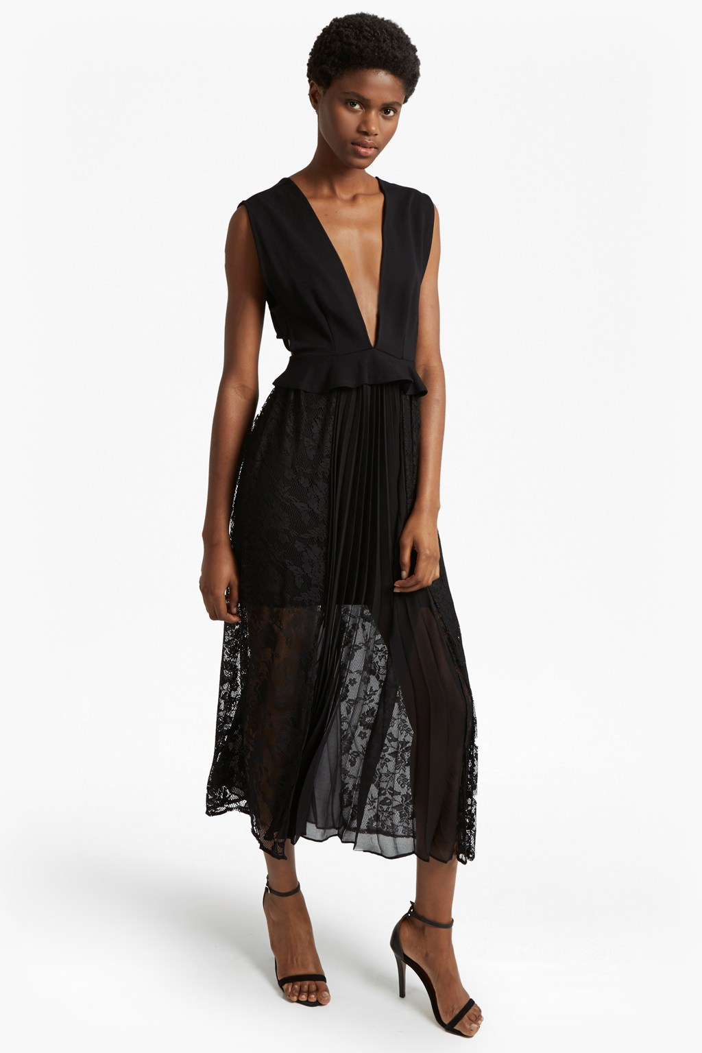 Angelina Pleated Lace And Jersey Maxi Dress   Collections   French ...