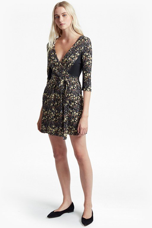 hallie print jersey wrap dress