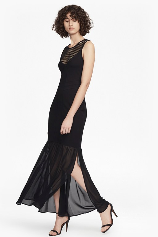 chantilly beau jersey and mesh maxi dress