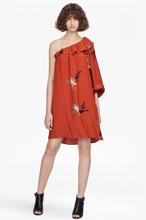 delphine draped one shoulder dress