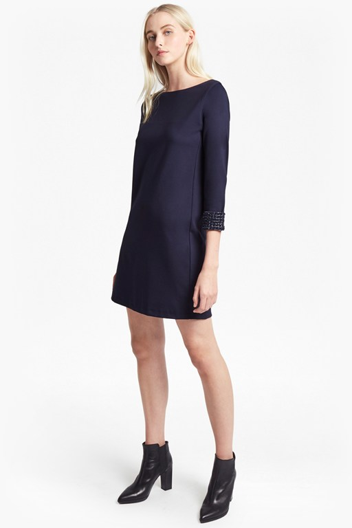 crystal shot embellished tunic dress