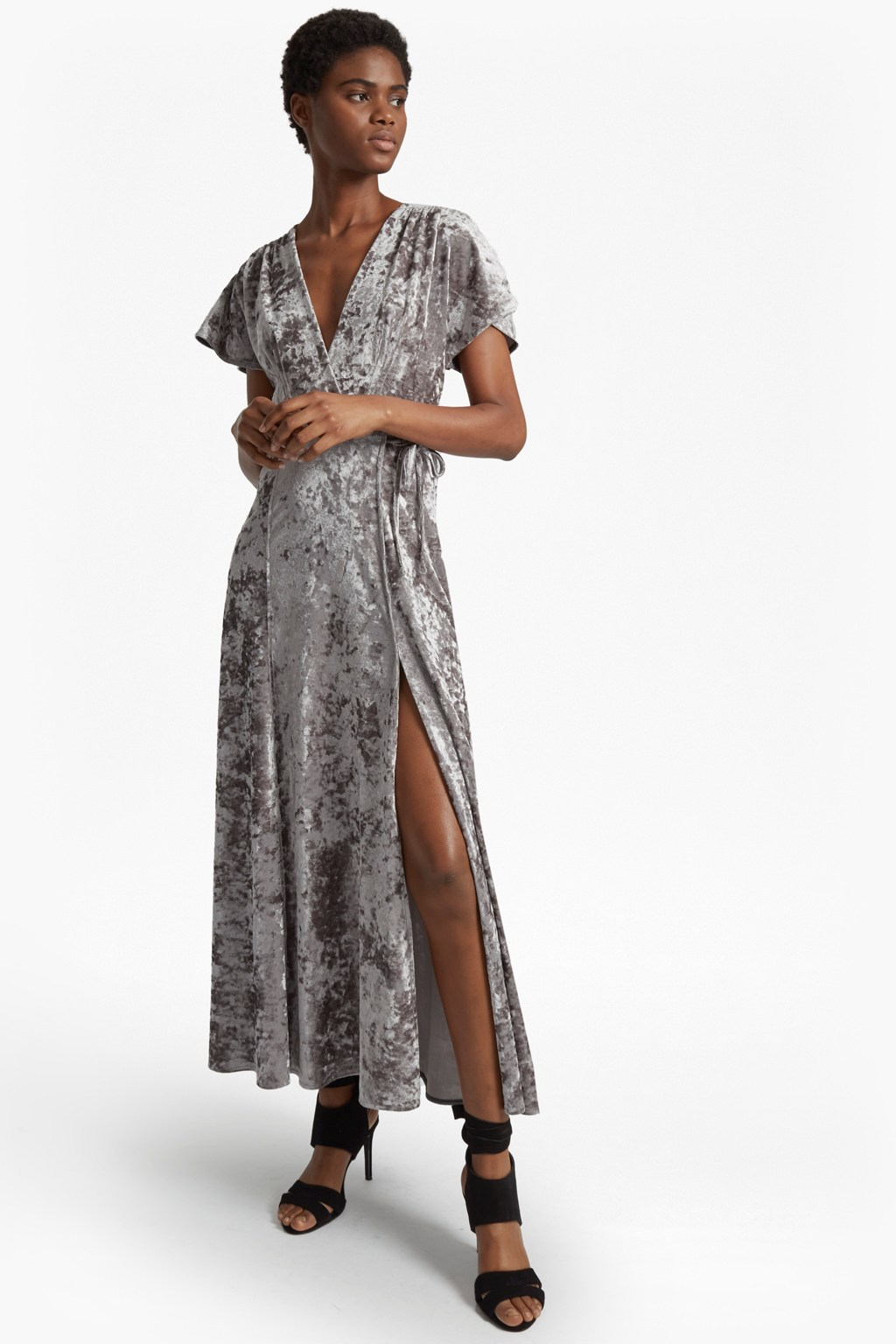 Aurore Crushed Velvet V-Neck Maxi Dress | Cocktail Party | French ...