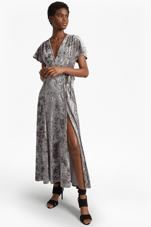 aurore crushed velvet v-neck maxi dress