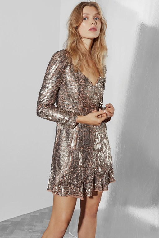 Complete the Look Aurelie Sequin V Neck Dress