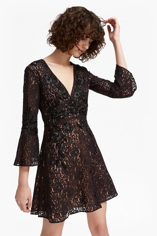 esme shimmer v neck floral dress