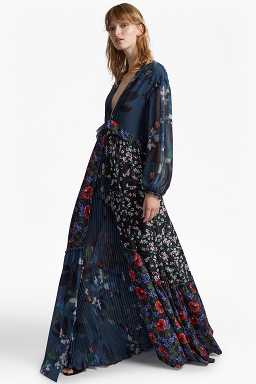 celia mix v neck floral maxi dress