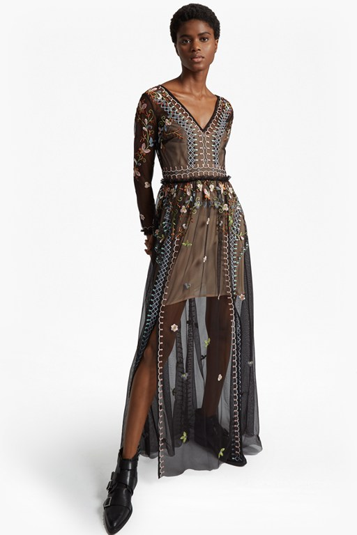 Complete the Look Bijou Stitch Long Sleeved V Neck Maxi Dress