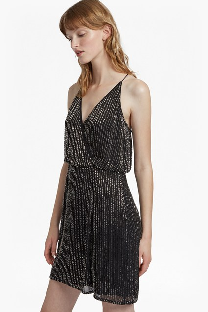 Enid Shimmer V Neck Sequin Dress