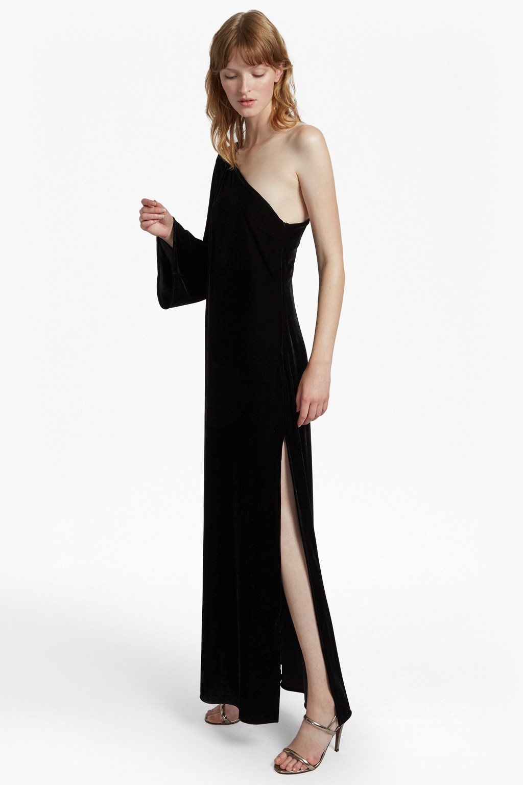 Aurore Velvet One Shoulder Maxi Dress | Collections | French ...