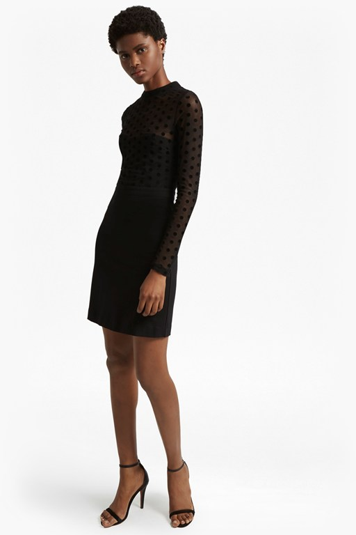 lea mesh jersey high neck dress