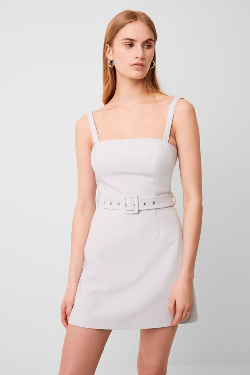 whisper belted straight neck dress