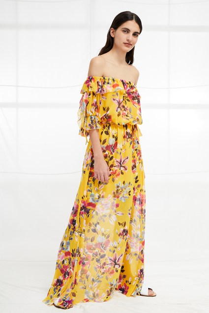 Linosa Crinkle Off The Shoulder Maxi Dress