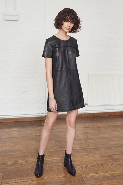 gizo leather round neck dress