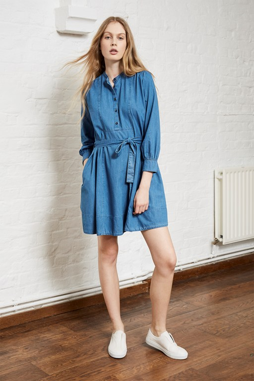 tidore chambray flared dress