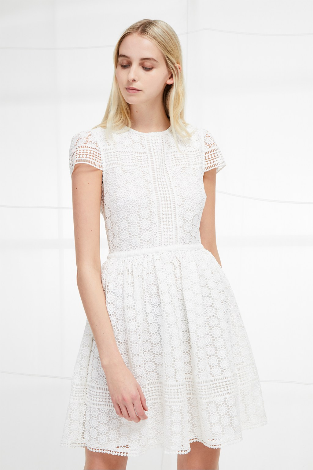 Parker Lace Fit And Flare Dress White Dresses French