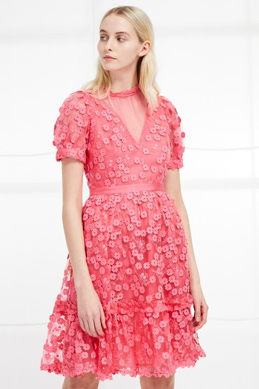 caballo lace high neck dress