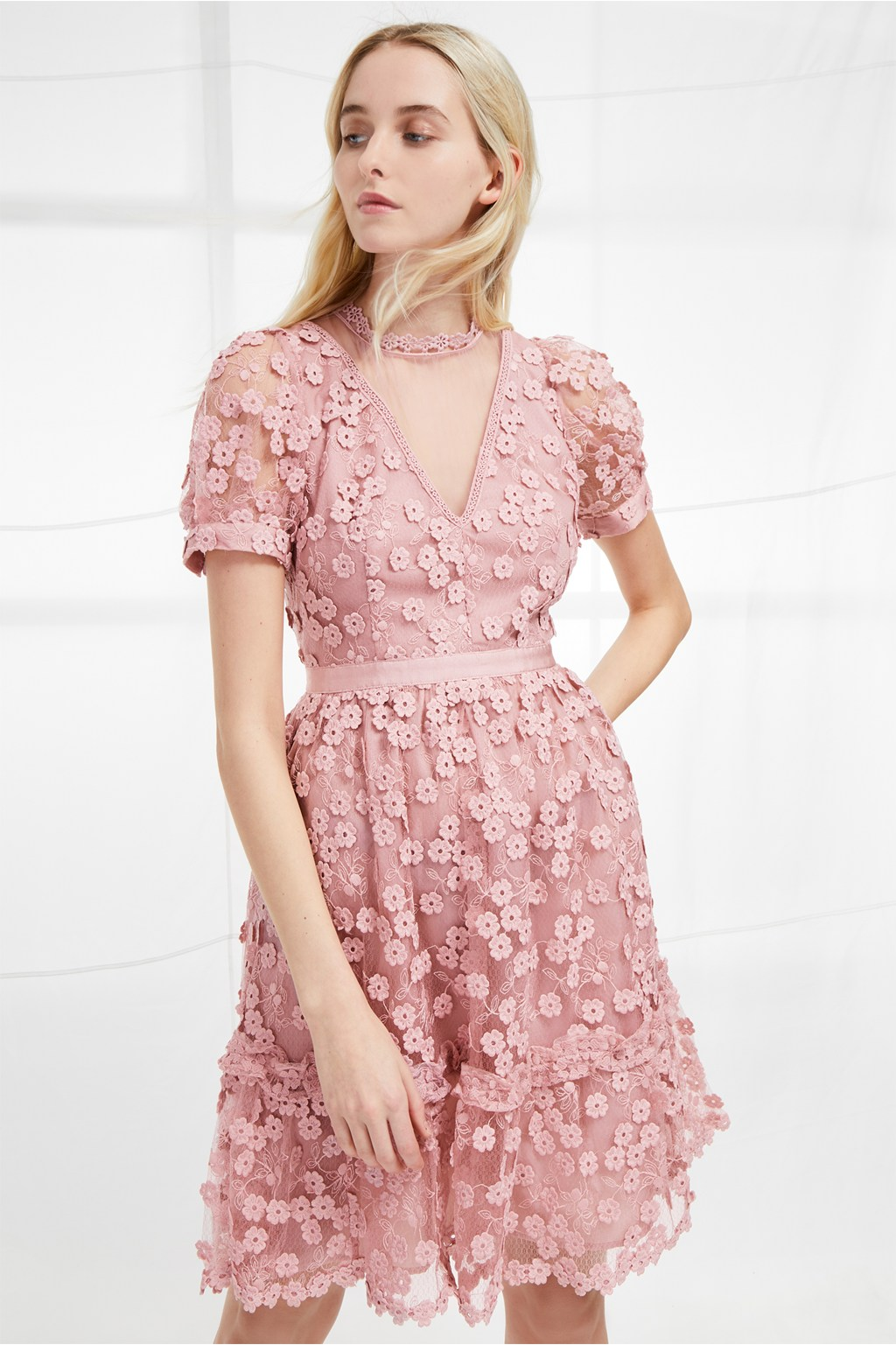 Caballo Lace High Neck Dress | Spring Floral Dresses | French ...