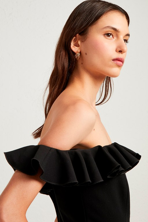whisper light ruffle off the shoulder dress